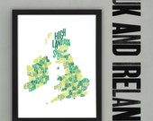 UK & Ireland Font Map (Green) Limited edition Digital Print, 297x420mm