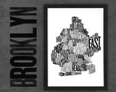Brooklyn Fontmap - Limited edition typographic map digital print, 297x420mm