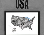 USA Font Map (Black) Limited Edition Digital Print, 420x297mm