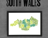South Wales Fontmap - Limited edition typographic map digital print, 420x297mm