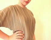 SALE Batwing sage green sweater with peach and white stripes
