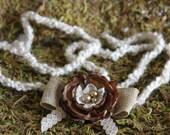 Brown flower on burlap ribbon bow tie back headband