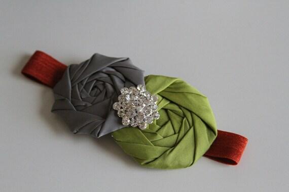 Perfect fall rosettes  elastic headband
