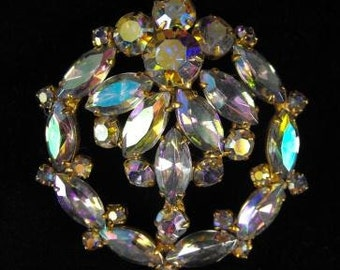 Vintage Brooch Luscious Liquid A/B Crystal Rhinestones Great Gift Ideas Under 40.00