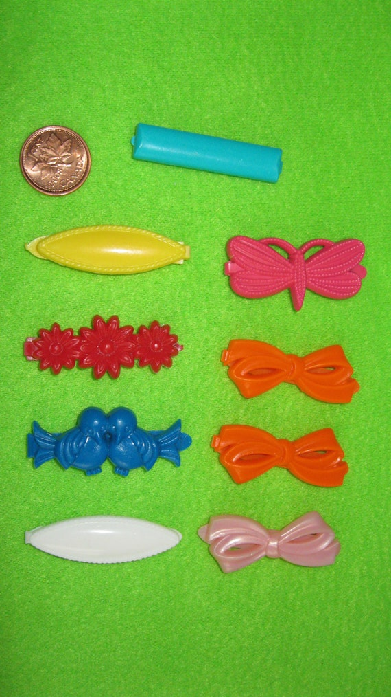 Vintage hair barrettes - 80s hair clips - colorful accessories 1980s