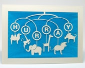 Hurray !!!! Animal Moblie Baby Invitation or Congratulations to a new family, Laser Cut Card