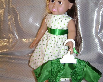 Pat) Designer Green and White Irish dress perfect for a Irish party.
