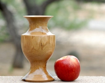 "Bud Vase of Reclaimed Oak Wood - 7 1/2"" tall & 4"" diameter"
