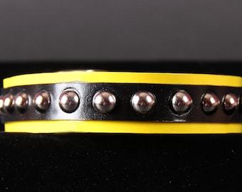 Yellow and Black Studded Dog Collar