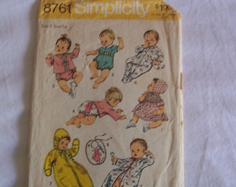 Simplicity 8761 Baby Clothes Pattern Size 6 months Vintage 70s Baby Pattern