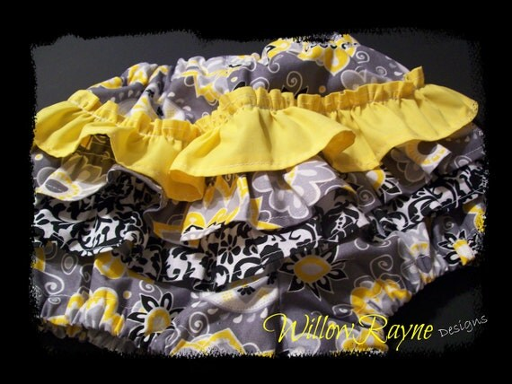 Ruffle Bloomers Yellow and Gray Floral