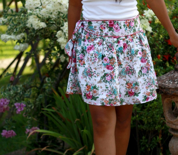 Pink Floral and White Mini Skirt with Sash - Summer Fashion