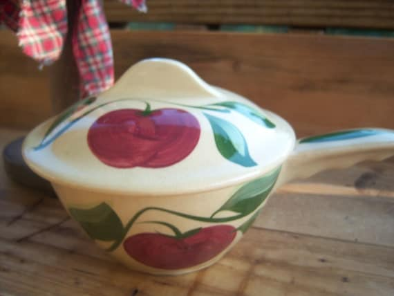 Watt Pottery French Handle Covered Casserole Vintage Stoneware Bowl