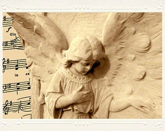 Angel Wings Marble Child Statue handmade photo note card