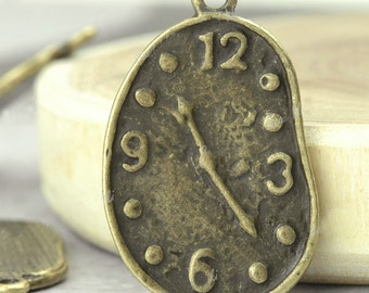 10 Whimsical Antique Bronze Melting Clock Charms Pendants 22mm