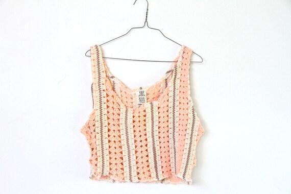 peachy, grunge knit crochet tank