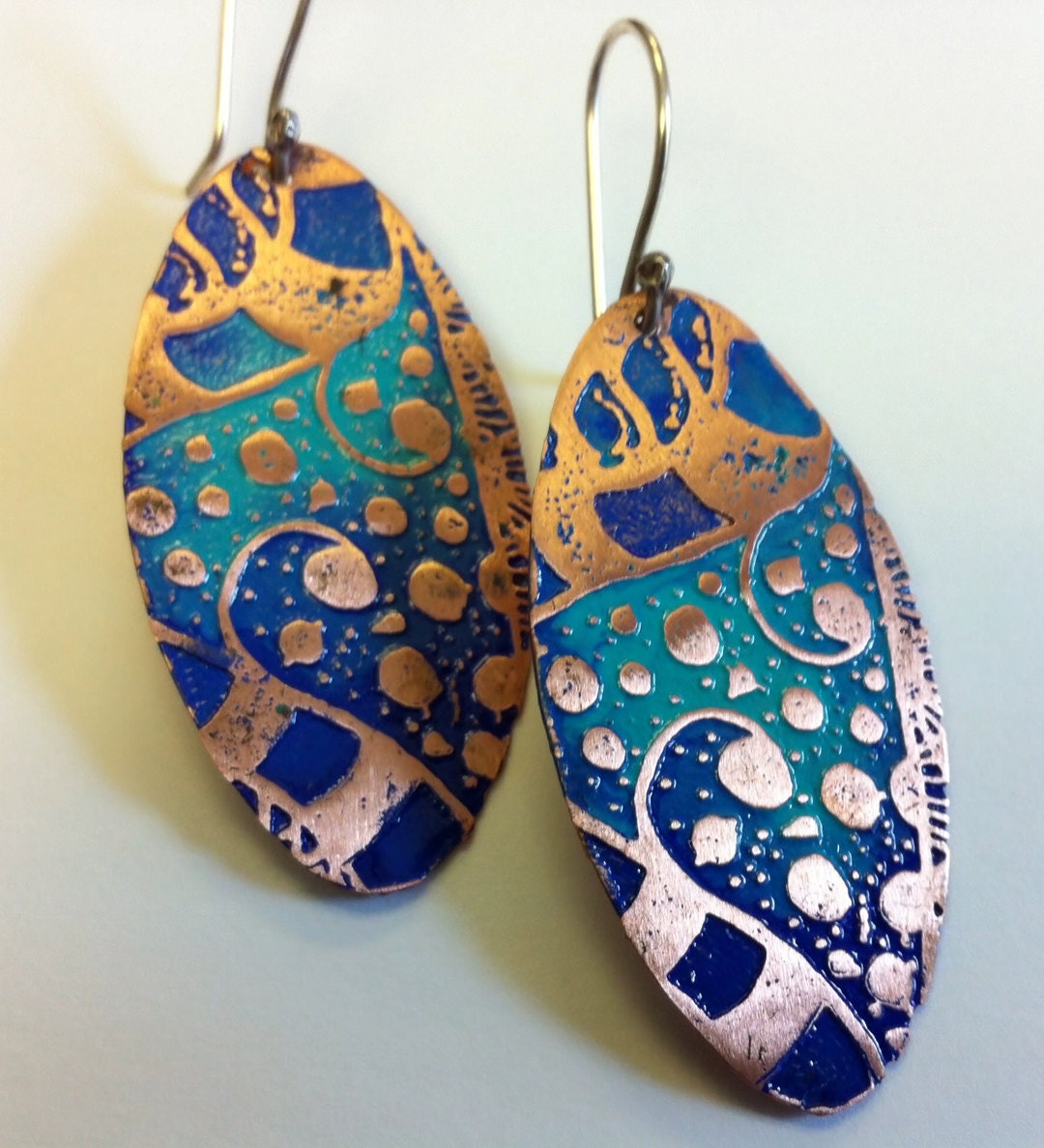 Etched Copper Zentangle Earrings