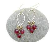 FALL SALE 30% OFF - deep pink mystic quartz chandelier earrings