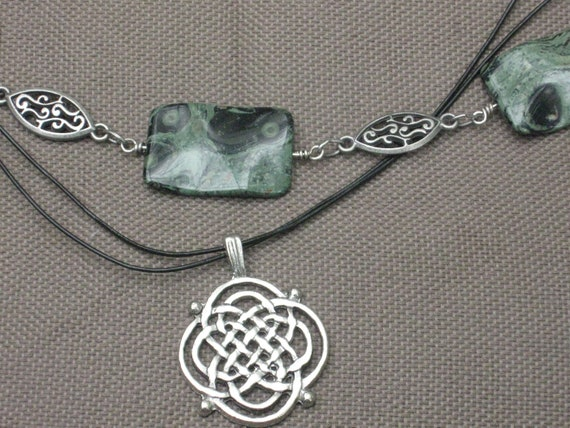 Necklace-Beaded Necklace-Beaded Stone Necklace-Celtic Jewelry-Celtic Charm Necklace-Leather Jewelry-silver Necklace-Silver and Leather