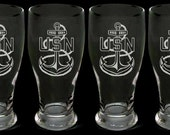 USN Navy Chief Pilsner Beer Glasses Set of 4 US Navy cpo scpo mcpo gift master chief senior chief petty officer