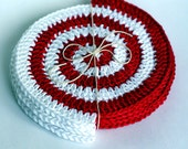 Crochet Coasters. Set of 4 pcs. Spiral. Red-White. Placemat doilies.