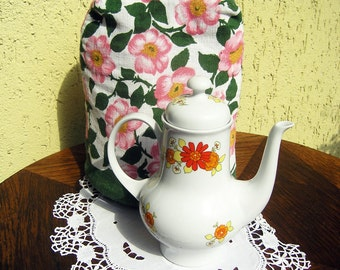 Vintage Tea Cozy,  Vintage Floral Tea Cosy, Tea Pot Cover, Vintage Tea Time, Pink Green White Floral Tea Cozie, Vintage Homewares