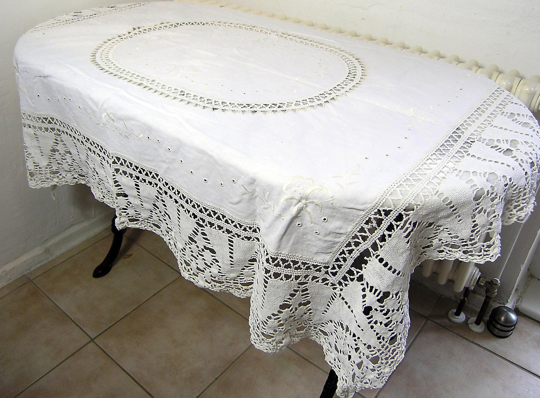 Vintage White Lace Crochet Tablecloth Vintage Rectangular