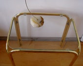 Mid century modern glass top occasional table brass and aluminum