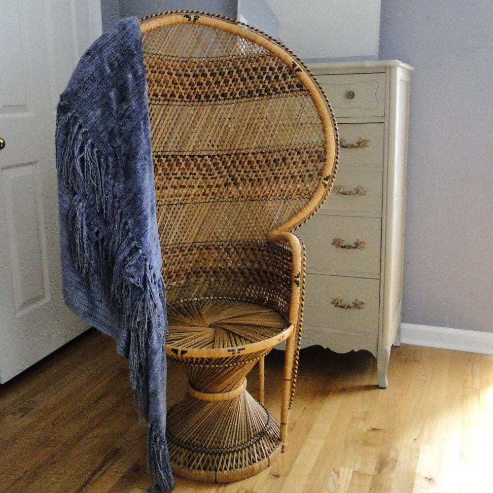 Vintage Peacock Fan Chair Chinoiserie High Back By