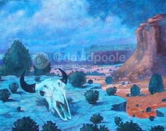 Buffalo Skull Arizona Landscape. Photography Print of painting 8x10 Fine Art Sedona Arizona