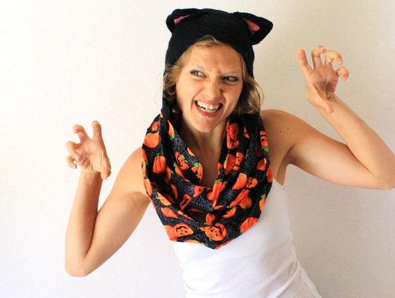 Halloween Scarf - Black and Orange Circle Scarf - Pumpkins - Spooky -  Infinity Scarf - Halloween