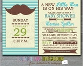 Mustache Baby Shower Invitations: Product No. 188 Little Man baby shower Invites - 12 Printed Invitations