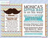 Mustache Baby Shower Invitations:  Product No. 356  - Little Man baby shower Invitations - Baby Boy - 12 Printed Invitations