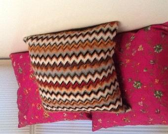 Missoni fabric/leather decorative pillow