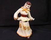 Vintage 1950s Ceramic Arts Studio Figurine Dancing Peasant Girl Figurine Ceramic Figurine