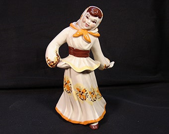 1950s Ceramic Arts Studio Figurine Dancing Peasant Girl Figurine Ceramic Figurine