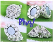 Lot of 5 8mm Silver Magnetic Clasp with Rhinestones