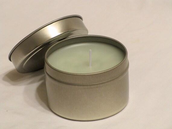 Lemongrass & Sage  4 oz Travel Tin Candles  Sage Green