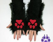 Pawstar PAW WARMERS embroidered Arm Warmer Paws Choose PawPad Color fox Kitty Wolf Black Red Orange Yellow Green Blue Purple Pink White 3110