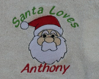 Personalized Embroidered Santa Bib Christmas