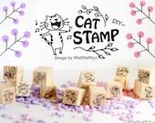55% OFF SALE  12 pcs DIY Cat Rubber Stamp