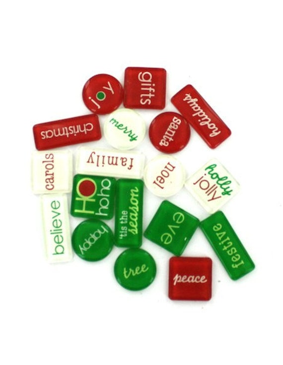 18 Stickers Acrylic Tile /  Christmas Holiday Red Green Embellishments