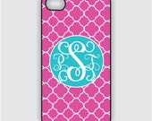 iPhone 4 Case - iPhone 4s case - Personalized iPhone 4 case cover - hot pink quatrefoil and turquoise monogram