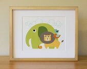Elephant . Lion .  Baby Nursery Wall Art . Children Wall Art
