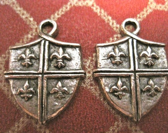 2 Fleur De Lis Pewter Shield Charms