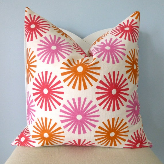 Orange and Pink Fireworks Decorative Pillow Cover 18 x 18