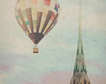 "New York City - 8x10 photograph - ""Balloon over the Chrysler"" - fine art print - vintage photography - Manhattan  - New York skyline"