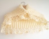 Knitting Cowl, Scarf, Cream Cowl,  Women neck warmer, Capelet, winter accessories, women fashion accessories, for her gifts