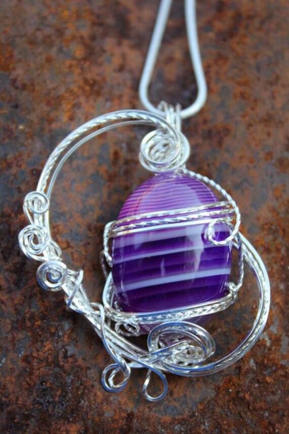 Purple agate Sterling Silver Sculpted Pendant