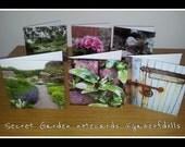 Set of 6 Blank Photo Notecards. Several designs: Secret Garden, Floral, Scenic 12.5cm Square